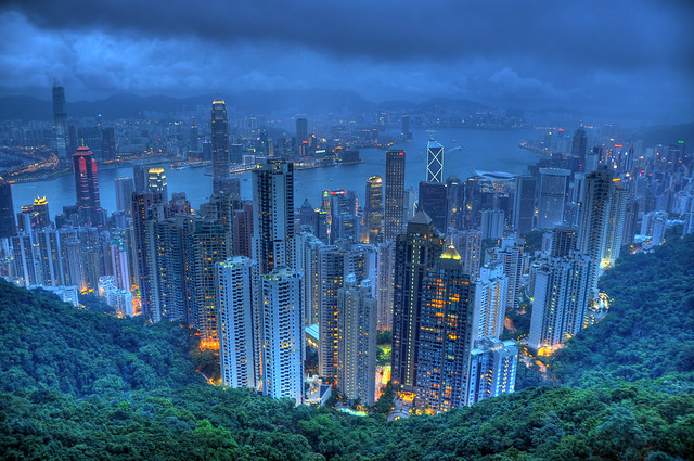 Hong Kong at dusk HDR
