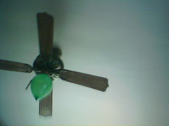 ceiling fan, green, mechanical fan,