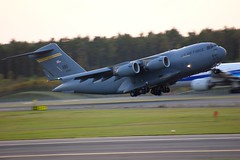 aviation, airplane, vehicle, cargo aircraft, military transport aircraft, boeing c-17 globemaster iii, takeoff, jet aircraft, flight, aircraft engine, air force,