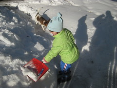 Helping Daddy Shovel