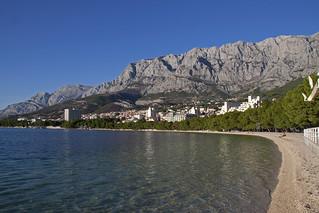 Image of Makarska plaža Beach with pebbles. croatia makarska makarskariviera