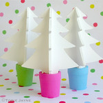 Hand painted wooden Christmas trees