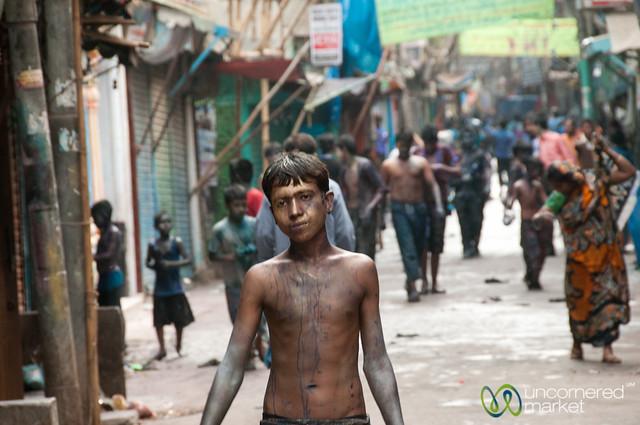 Holi Celebrations in Shakhari Bazar - Old Dhaka, Bangladesh