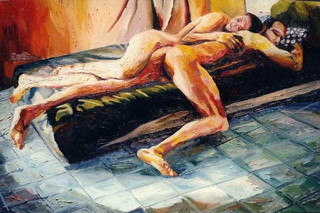 pintura realista do homem e da mulher nua na cama arte realismo dos homens pinturas mulheres Casal arte erótica masculina nu feminino