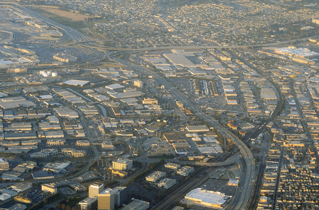 Above Highways 101 and 380, South San Francisco, San Bruno, and Millbrae, California by cocoi_m