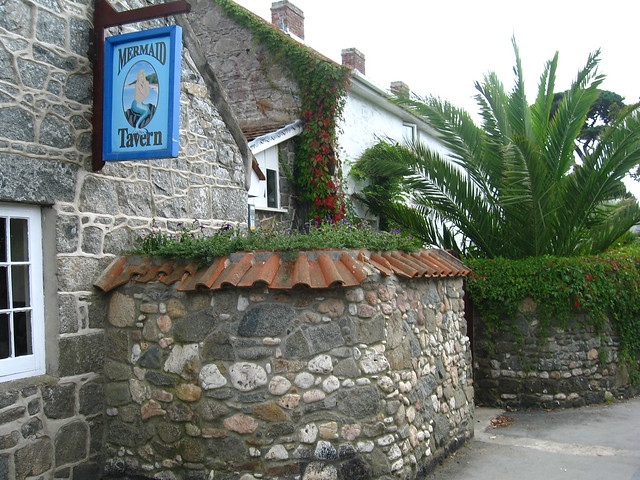 Side view of the Mermaid Tavern, Herm in the Channel Islands (British Isles)
