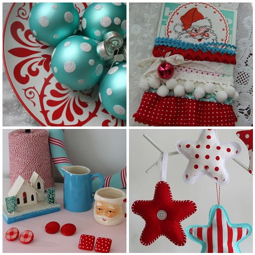 red white aqua christmas - Red White And Turquoise Christmas Decor