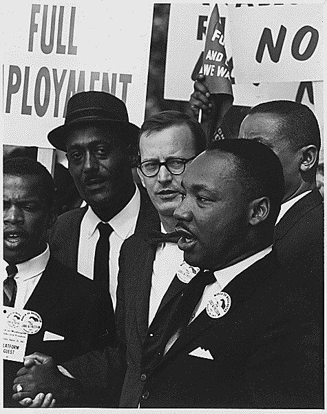 Civil Rights March on Washington, D.C. [Dr. Martin Luther King, Jr., President of the Southern Christian Leadership Conference, and Mathew Ahmann, Executive Director of the National Catholic Conference for Interrracial Justice, in a crowd.], 08/28/1963 from Flickr via Wylio