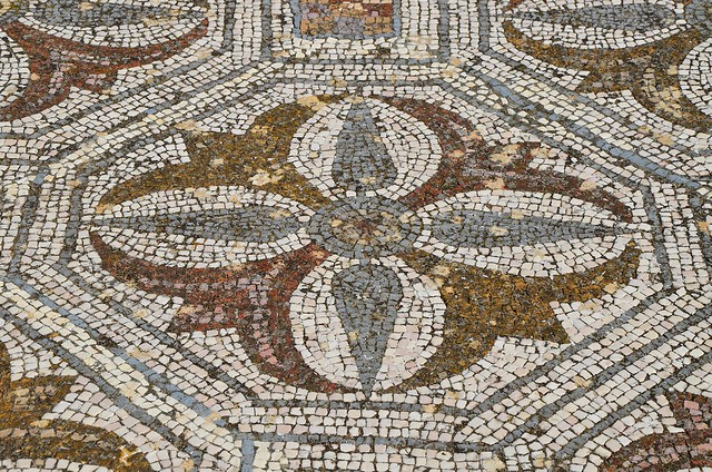 Mosaic floor with geometric and naturalistic motifs, Roman Villa of Pisões, Lusitania, Portugal