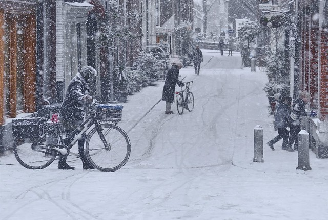 Snow blizzard surprises bikers in Amsterdam