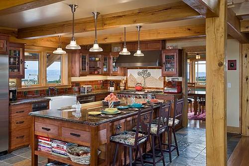 Distinct Western Elegance Timber Frame Home Kitchen