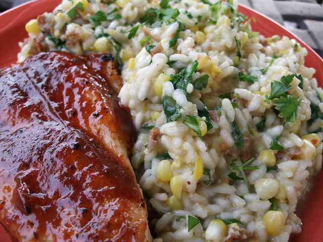 Chicken Breast and Risotto with Corn, Spicy Sausage and Wilted Arugula ...