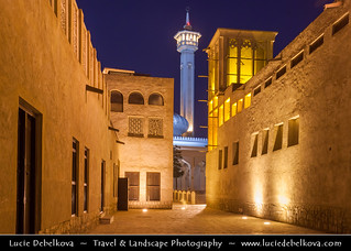 United Arab Emirates - Dubai - Bastakia Quarter at Dusk - Twilight - Blue Hour
