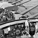 Sept 4, 1944. Captain Emile Dechaineaux, DSC,  on the bridge of HMAS AUSTRALIA [II]. Gordon Short.