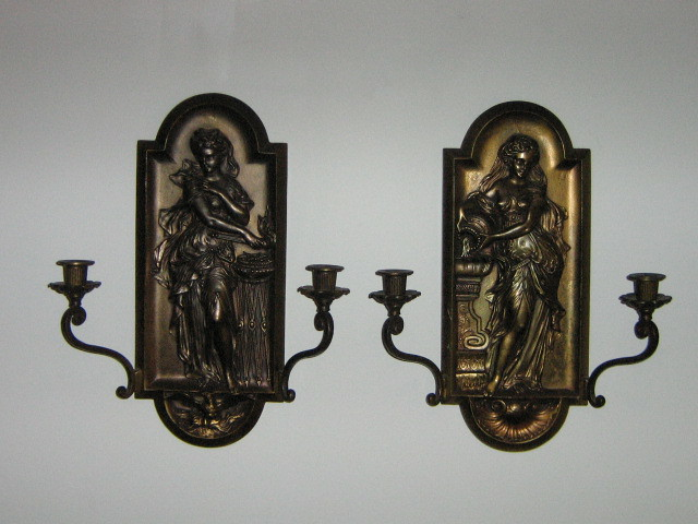 Vintage Pair Brass plated Maidens Double Candle Wall Sconces ...