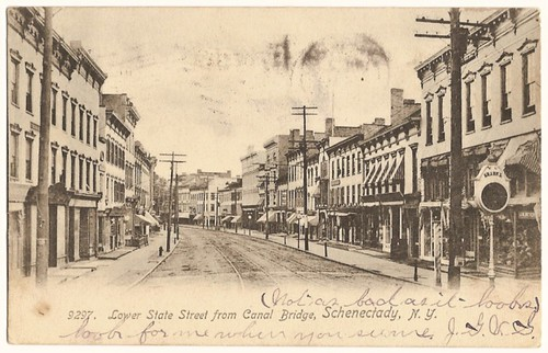Old Vintage Postcard showing Lower State Street,Schenectady, New York 1905