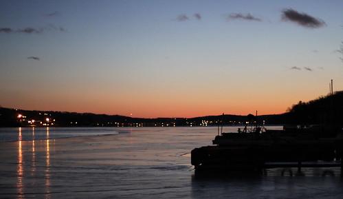 winter sunset lake ice clouds docks reflections evening jefferson