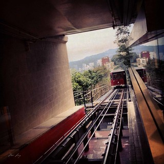 The Peak Tram approaching the station.