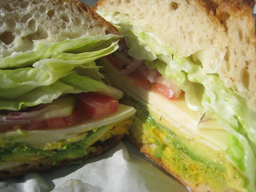 white cheddar/avocado sandwich