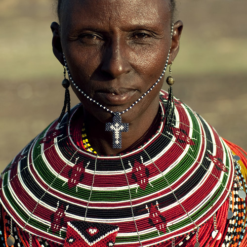 Miss Agatha, El Molo woman with a christian cross on the chin - Kenya