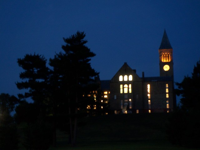 the clock tower at night