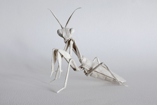 BIG WHITE PRAYING MANTIS (ORIGAMI)