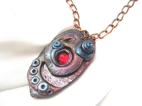 Faux Metal Polymer Clay Pendant with Red Glass Gemstone