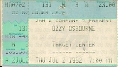 07/02/92 Ozzy Osbourne/Slaughter/Ugly Kid Joe @ Minneapolis, MN
