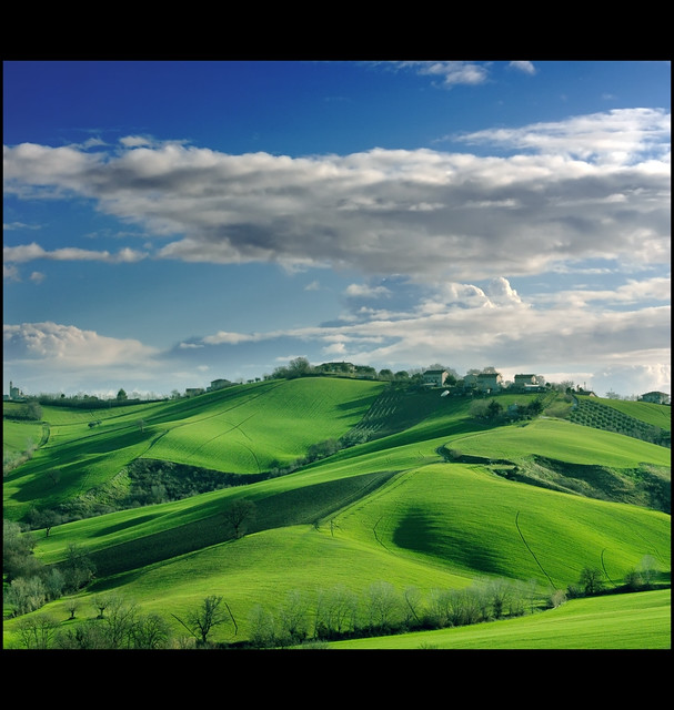 Landscape: Winter Dress is green and blue.