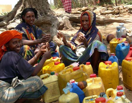 Milk collection in Ethiopian rural area