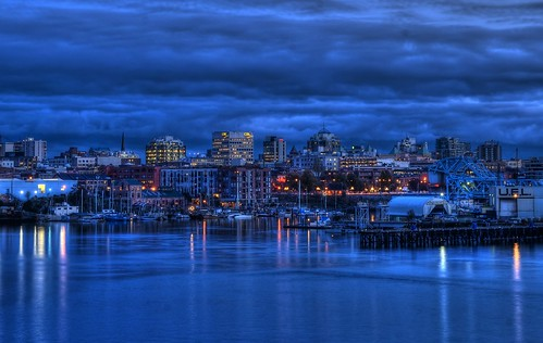 Victoria, British Columbia Skyline at The Blue Hour (HDR series) by Brandon Godfrey