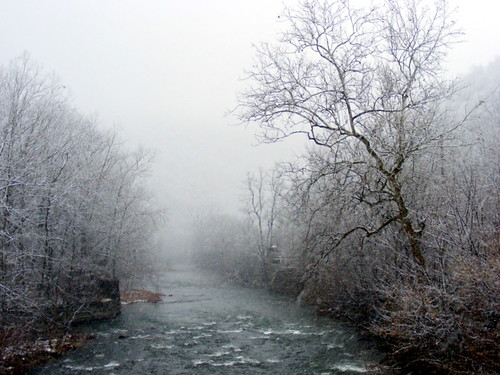 snowflake county trees mist snow water fog mystery creek md scenic maryland eerie fresh mystical ripples snowfall somber tranquil cumberland waterway allegany willscreek javcon117 frostphotos