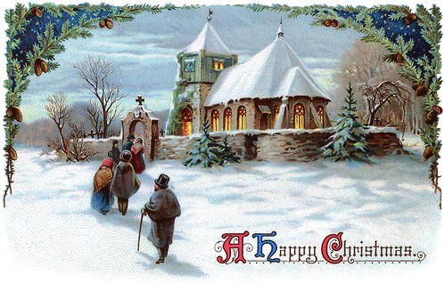 Going to church on Christmas Eve - a 1911 vintage Xmas card illustration