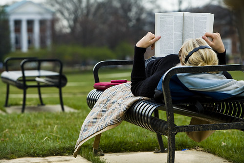 Student studying on the Mall
