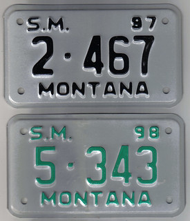 MONTANA 1997 and 1998 ---SPECIAL MOBILE plates