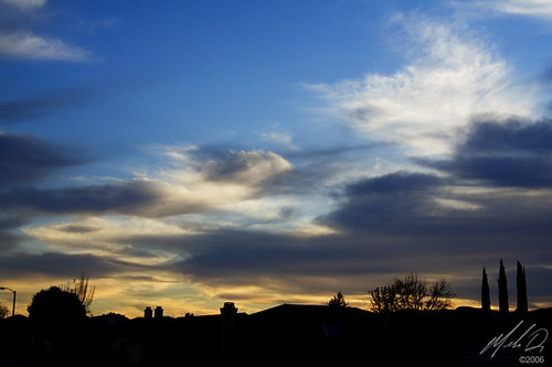 california ca blue trees houses sunset black silhouette yellow clouds canon shapes hemet bluehour rebelxt