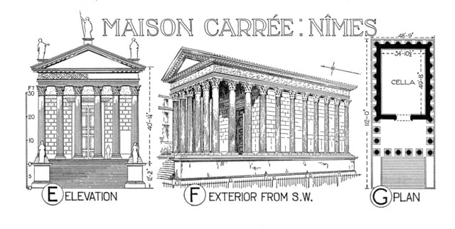 Plan Elevation Maison : Maison carree reconstruction rendering plan and