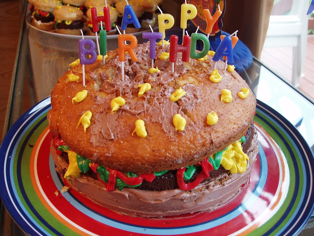 ... attempt at a Burger Birthday Cake  Flickr - Photo Sharing