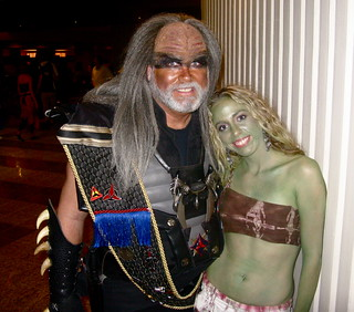 A cute old Klingon, & myself as an Orion Slave Girl