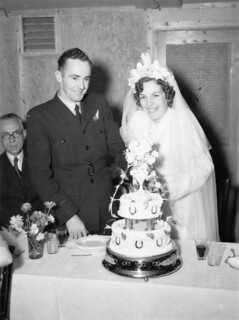 Alice Williams and Robert Wallace on their wedding day, 1945