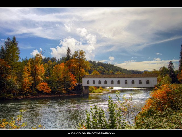 Covered Bridge over McKenzie River in the Fall