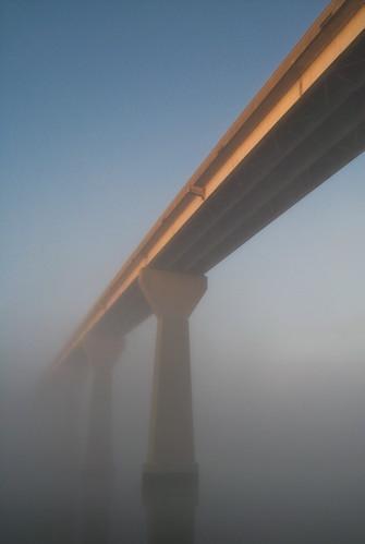 bridge fog sunrise geotagged patuxentriver solomonsisland