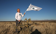 Sir Richard Branson in the New Mexcian desert near Las Cruces where Spaceport America will be built.