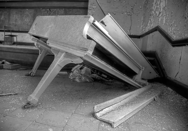 Abandoned piano, school, Detroit