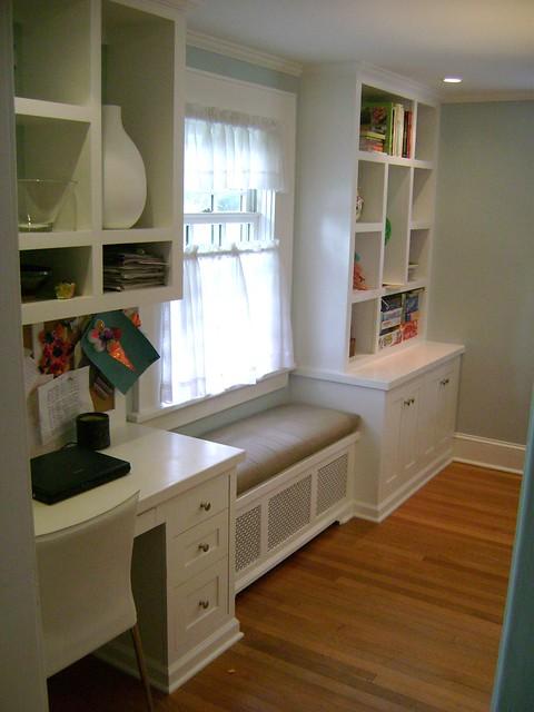 Kitchen desk window seat and boocase flickr photo for Built in kitchen desks ideas