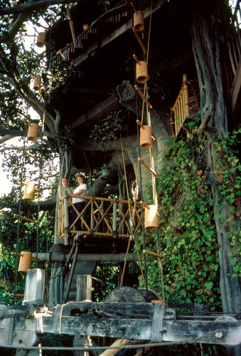 Tania and Janis in the Swiss Family Treehouse, Disneyland, 1979