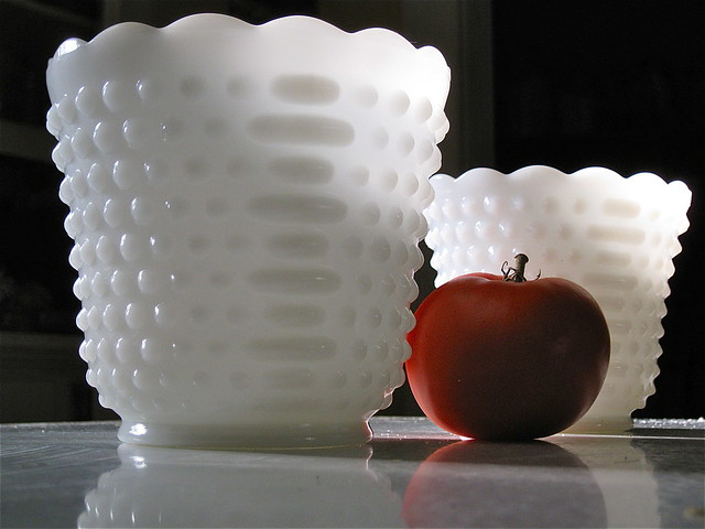 milk glass planters