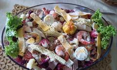 vegetarian food(0.0), produce(0.0), waldorf salad(0.0), pasta salad(1.0), salad(1.0), vegetable(1.0), food(1.0), dish(1.0), cuisine(1.0),