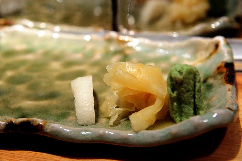 筌壽司-醃白蘿蔔、甜殭、現磨山葵泥