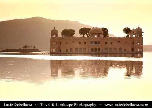 "India - Jaipur - Jal Mahal ""Water Palace"" Bathing in the Morning Light at Man Sagar Lake"